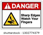 danger sharp edges watch your... | Shutterstock .eps vector #1302774379