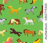 Cartoon horse vector cute animal of horse-breeding or kids equestrian and horsey or equine stallion illustration childly animalistic horsy set of pony zebra character background pattern