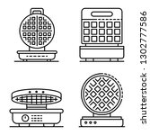 round waffle icons set. outline ... | Shutterstock .eps vector #1302777586