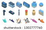 aquarium icons set. isometric... | Shutterstock .eps vector #1302777760