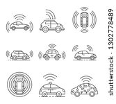 driverless car icons set.... | Shutterstock .eps vector #1302778489