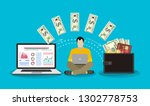 monitor with dollars  concept... | Shutterstock .eps vector #1302778753