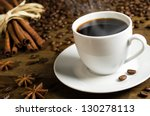 a cup of coffee with coffee... | Shutterstock . vector #130278113