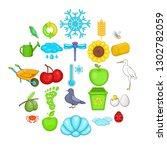 ecological diversity icons set. ... | Shutterstock .eps vector #1302782059