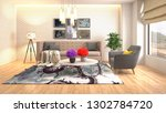 interior of the living room. 3d ... | Shutterstock . vector #1302784720