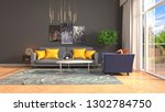 interior of the living room. 3d ... | Shutterstock . vector #1302784750