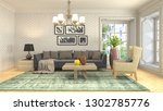 interior of the living room. 3d ... | Shutterstock . vector #1302785776