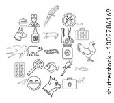 domestic animal icons set.... | Shutterstock .eps vector #1302786169