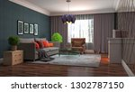interior of the living room. 3d ... | Shutterstock . vector #1302787150