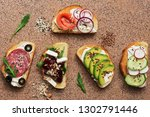 set of a variety of sandwiches... | Shutterstock . vector #1302791446