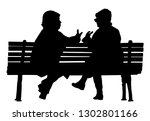 women gossip at the break.... | Shutterstock .eps vector #1302801166