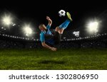 football player in action on a... | Shutterstock . vector #1302806950