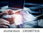 working on progect with hi... | Shutterstock . vector #1302807316