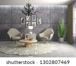 interior with chair. 3d... | Shutterstock . vector #1302807469