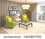interior with chair. 3d... | Shutterstock . vector #1302807550