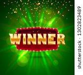 winner frame label  falling... | Shutterstock .eps vector #1302823489