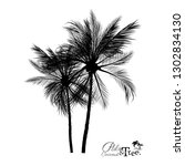 palm tree silhouette icons on...   Shutterstock .eps vector #1302834130