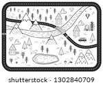black and white kids road play...   Shutterstock .eps vector #1302840709