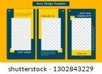 yellow orange and navy social... | Shutterstock .eps vector #1302843229