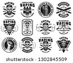 vaping and electronic... | Shutterstock .eps vector #1302845509