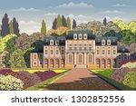 sunny spring day in the garden... | Shutterstock .eps vector #1302852556