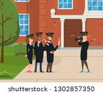 group of young graduates are... | Shutterstock .eps vector #1302857350