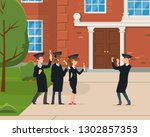 group of young graduates are... | Shutterstock .eps vector #1302857353