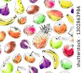 hand drawn fruit seamless... | Shutterstock .eps vector #1302863986