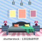 nice colorful bedroom design.... | Shutterstock .eps vector #1302868909
