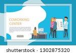 freelancer at coworking... | Shutterstock .eps vector #1302875320