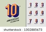 set of anniversary logotype.... | Shutterstock .eps vector #1302885673