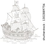 old sea pirate sailing ship... | Shutterstock .eps vector #1302889756