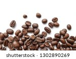 roasted coffee beans isolated... | Shutterstock . vector #1302890269