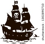 old sea pirate sailing ship...   Shutterstock .eps vector #1302890710