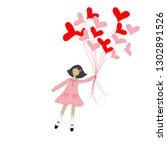 cute cartoon girl flying with...   Shutterstock .eps vector #1302891526