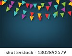 carnival garland with pennants. ... | Shutterstock .eps vector #1302892579