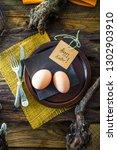 easter table setting. fresh... | Shutterstock . vector #1302903910