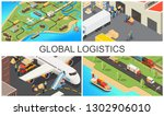 isometric global transportation ... | Shutterstock .eps vector #1302906010