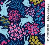 cute seamless botanical fabric... | Shutterstock .eps vector #1302926623