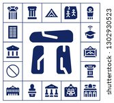 museum icon set. 17 filled... | Shutterstock .eps vector #1302930523