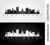 fort wayne usa skyline and... | Shutterstock .eps vector #1302945256