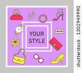 fashion style social media... | Shutterstock .eps vector #1302949990