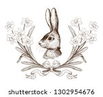 easter bunny in a wreath of... | Shutterstock .eps vector #1302954676