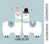 cute llama couple in love...   Shutterstock .eps vector #1302960919