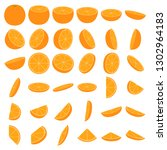 orange icon set  parts and... | Shutterstock .eps vector #1302964183