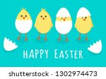 easter greeting card with four... | Shutterstock .eps vector #1302974473
