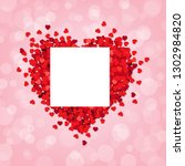red heart pink background with... | Shutterstock .eps vector #1302984820
