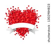 red heart with white ribbon... | Shutterstock .eps vector #1302984823