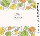 background with papaya and... | Shutterstock .eps vector #1303007359