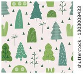 Trees Seamless Pattern. Spring...
